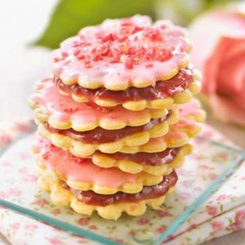 Biscuits à la framboise & pralines roses